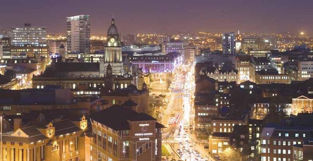 aerial shot of leeds city centre